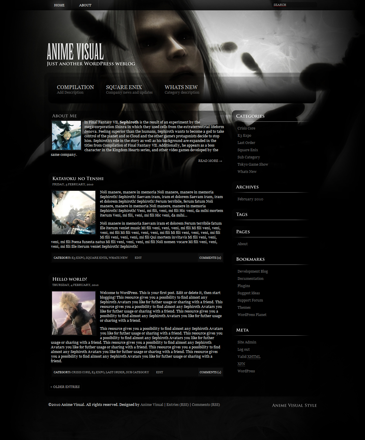 Final Fantasy VII WordPress Theme